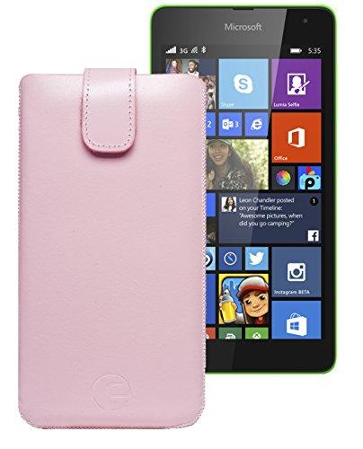 Original Favory ® Etui Tasche für / Microsoft Lumia 435 - Microsoft Lumia 532 Dual Sim / Leder Etui Handytasche Ledertasche Schutzhülle Hülle Hülle *Lasche mit Rückzugfunktion* In rosa