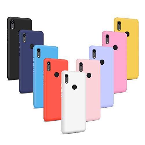 9X Funda para Huawei Y6 2019, Carcasas Flexible Suave TPU Silicona Ultra Delgado Protección Caso(Rojo + Rosa Claro + Púrpura + Amarillo + Rosa Oscuro + Verde + Negro + Azul Oscuro)