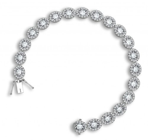 925 Sterling Silver Tennis Bracelet Brilliant Oval Cut White CZ Pave Set with White Cubic Zirconia, 7.5