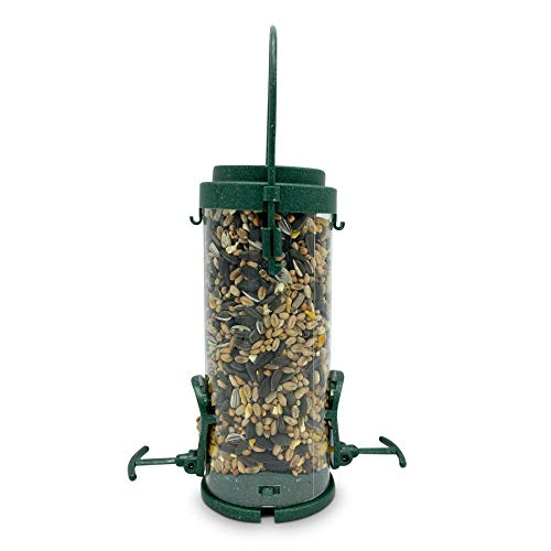 Eco Friendly Bird Feeder with Wild Seed Mix Included - Recycled Plastic Hanging Feeders for Garden Birds - Attracting Tits, Finches, Robins & many more Wild Birds