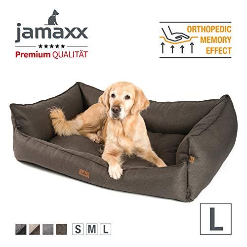 JAMAXX Premium Hundebett - Orthopädisch Memory Visco Füllung, Extra-Hohe Ränder, Waschbar, Hochwertiger Stoff mit viel Eleganz, Hundesofa PDB2018 (L) 120x90 braun