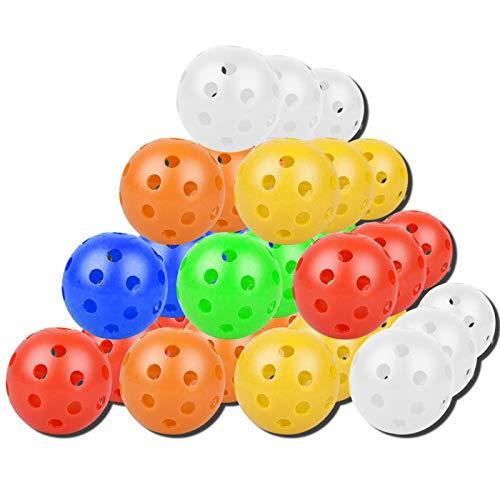 Zuzer Golf Übungsbälle 30 Stück Golf Trainingsbälle Golf Luftbälle Plastik Golfbälle Trainingsbälle Für Damen Herren Kinder,6 Farben
