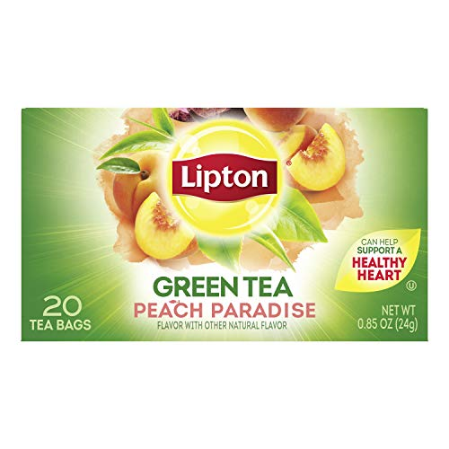 Lipton Green Tea Bags, Peach Paradise, 20 ct, Pack of 6 (Packaging May Vary)