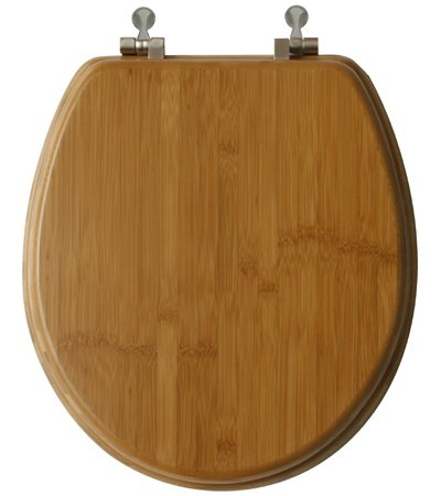 TOPSEAT Native Impression Round Toilet Seat w/Brushed Nickel Hinges, Natural Bamboo
