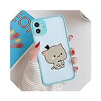For iPhone 12 11 Pro Xs 8 7 6S Plus XS MAX XR SE2020用の素敵なかわいい灰色の猫の電話ケースILOVEUカップルの電話カバークリアケース-3-For iphone XS MAX