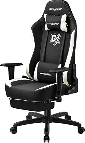 GTRACING ゲーミングチェア ファブリック オットマン付き オフィスチェア デスクチェア ゲーム用チェア リクライニング 通気性 ソファーの座り心地 非再生ウレタン採用 (GT505F-BLACKウサギシリーズ)