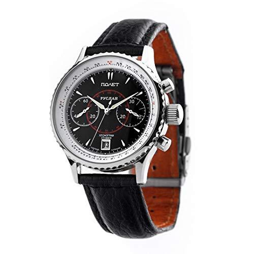 POLJOT Ruslan 3133 Aviator Chronograph russische mechanische Uhr Fliegerchronograph Russland Stoppuhr schwarzes Zifferblatt