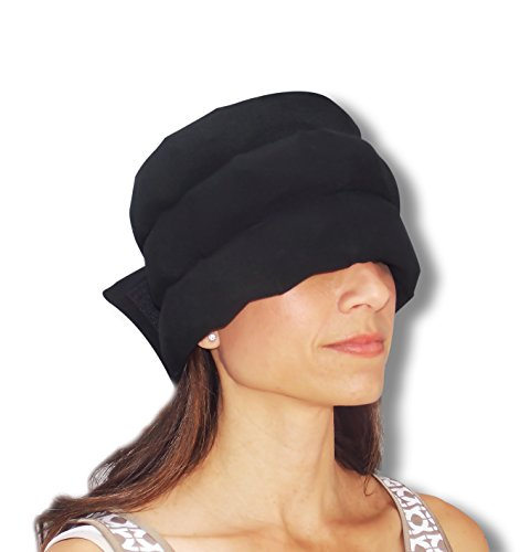 HEADACHE HAT The Original - Wearable Flexible Three Row Ice Pack for Migraines & Headache Relief Eye Mask Long Lasting Cooling No Mess Ice Therapy Stress Relief Tension Relief Standard Size (Black)