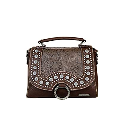 Montana West Ladies Purse Bag Crossbody Satchel Floral Tooling Conchos Coffee