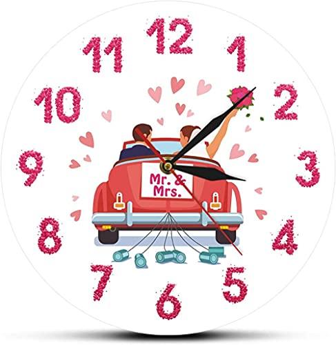 CDDRSXYQ Reloj de Pared Recién Casados Personalizado Sr. Sra. Nombres Reloj de Pared de Boda Reloj de Pared Personalizado Decoración del hogar Aniversario Regalo de Compromiso para Pareja