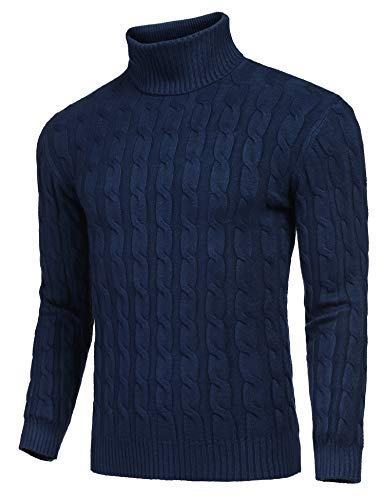 JINIDU Men's Slim Fit Turtleneck Sweater Casual Twisted Knitted Pullover Sweaters Navy Blue