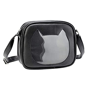 SteamedBun Ita Bag Crossbody Cat Shaped Anime Small Ita Purse Wallet Pins Display Bag with Insert