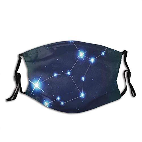 Colaecy Face Cover Jungfrau Sternbild Sterne Raumdruck Sturmhaube Wiederverwendbare Anti-Staub-Mund-Bandanas mit 2 Filtern