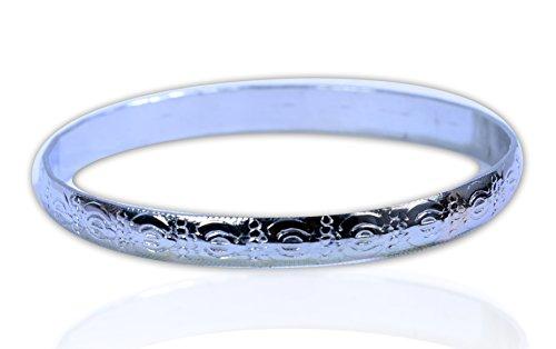 M 'vir geprägt Sikh/Panjabi Kristallsteinen/Kara Stahl Armband für Männer/Frauen 7cm Innendurchmesser x 0,6cm dick