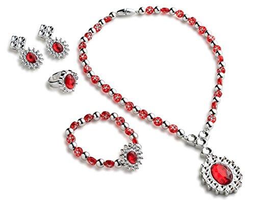 Dress Up America princesse Royal Jewelry Set pour les filles qui contient princesse collier, princesse Bracelet, princesse bague et princesse boucles d'oreilles, Rouge