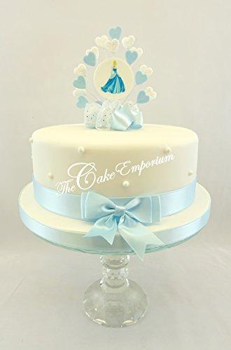 Der Kuchen Emporium Ltd Cinderella Disney Geburtstag Herz Burst Kuchendeko mit passendem Band Set