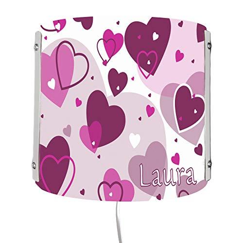CreaDesign WA-1123-09, Herz brombeere, Kinderzimmer Wandlampe personalisiert mit Namen, Nachtlicht/Schlummerlicht für Steckdose, E14, 22 x 22,5 x 85 cm