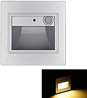 LED Recessed Wall Light,LED Motion Sensor Stair/Step Lamp, Porch Pathway Light/3W/120V/Silvery/Warm White