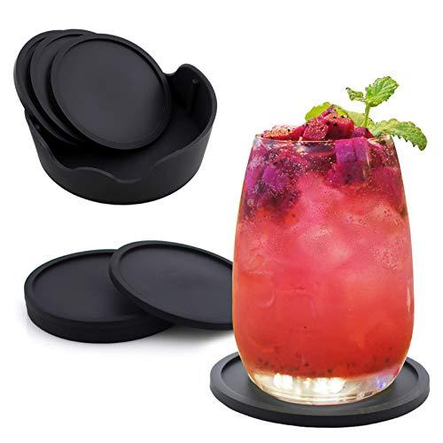 Surmounty Untersetzer 8Pcs Silikon Coasters, Getränkeuntersetzer Schwarz Silikonuntersetzer Rund Glascoaster inkl. Aufbewahrungsbox, Glasuntersetzer für Trinkgläser, Tassen, Tisch, Bar, Glas