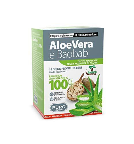 PURO by Forhans - Aloe Vera da Bere e Baobab - Integratore Alimentare 100% Succo e Polpa di Aloe Vera, Depurativo, per Regolarità Intestinale, Difese Immunitarie, Gusto Naturale, 14 Dosi per 50 ml