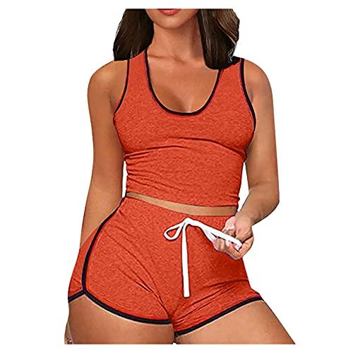 AFFGEQA Damen Yoga-Set Tops Shorts Set Kurze Sporthose Sommer Stretch Leichte Luftige Einfarbig Jogginghose für Freizeit Fitness Zweiteiliger Anzug Sportshorts
