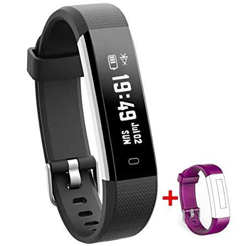 NAKOSITE RAY2434 Fitness armband tracker sportuhren Smartwatch armbanduhr damen herren kinder Sport uhr mit Schrittzähler, Kalorienzähler Schlaf Distanz.SMS WhatsApp. Ersatz Lila Band.