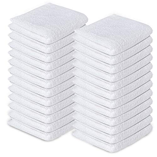 100% Cotton Washcloths 12'x12' Pack of 24 White Face Towels Cotton Washcloths Bulk Luxurious Wash Clothes for Bathroom and Face Soft and Smooth Face Towels Hotel and Spa Quality