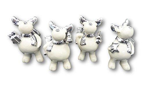 Geschenkestadl 8 süsse Elch Figuren in Weiss je ca. 6 cm x 10 cm Porzellan Weihnachten