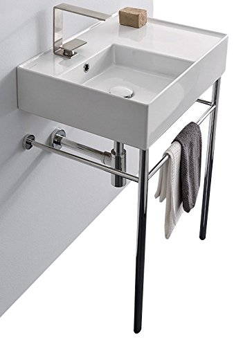 Scarabeo Scarabeo 5114-CON-One Hole Ceramic Console Rectangular Bathroom Sink, 23.62 x 17.32 x 36 inches, White