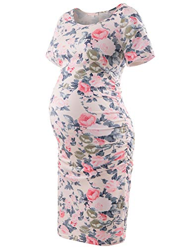 Product Image of the Striped Maternity Dress Short Sleeve Bodycon Ruched Side Knee Length Dress Pink...