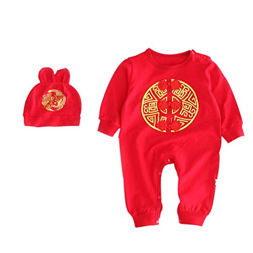 FORESTIME Newborn Baby Girls New Year Chinese Embroidery Romper Jumpsuit Long Sleeves Bodysuit Hats 2Pcs Outfit Set Red