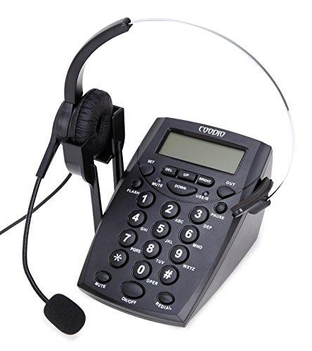 Teléfono Fijo, Coodio Call Center Teléfono con auriculares y cable de la grabación - C888