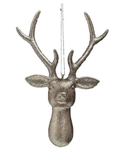 Toyland 22cm Reindeer Head Hanging Tree Decoration SILVER - Christmas Tree Decorations