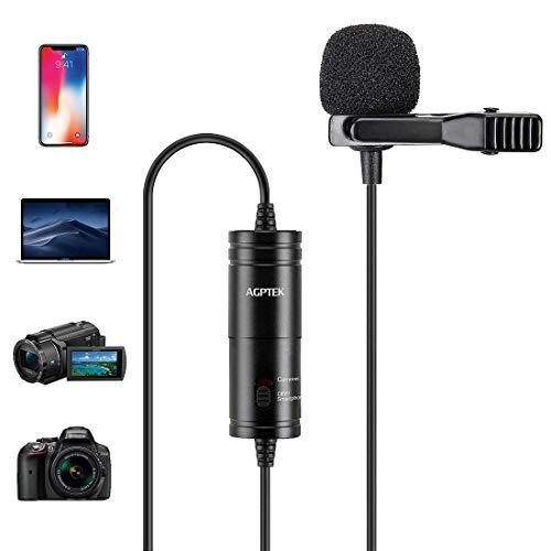 AGPTEK Z05 Micrófono de Solapa, Omnidireccional Micrófono de Condensador con 6M Cable para Móvil, PC, Cámara, Grabadora