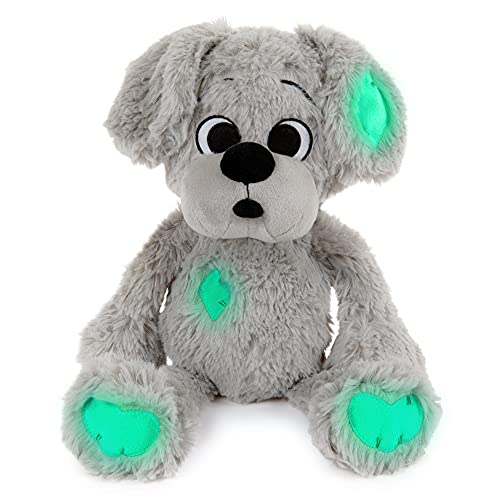 Cute Plush Stuffed Animal with Naturally Glowing Patches for Bedtime, Comfort Toy Teddy Bear, Small Floppy Soft Plush Toy Dog for Boys and Girls, Toddler and Up Puppy Plush 14'