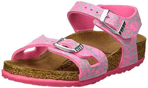 BIRKENSTOCK Mädchen Rio Knöchelriemchen Sandalen, Reflective Lines Pink, 31 EU