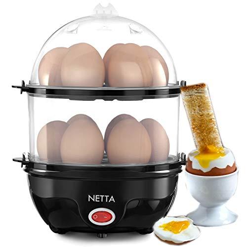 NETTA Elektrischer Eierkocher, Pochierer, 14 Eier/Wassermessbecher und Eierstecher, 350 W