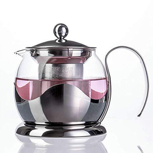 Cjji Tetera con infusor en vidrio y acero inoxidable | Tetera grande de 800 ml para infusiones de frutas o hierbas de hojas sueltas con colador de difusor de malla fina