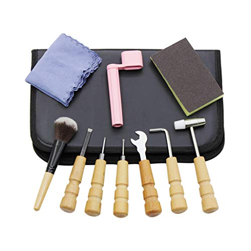 WINJEE, Set van 10 Gitaren Reparatie Onderhoud Kits Schuurpapier Moersleutels Schroevendraaier Hamer Dusting Borstel met Opbergtas