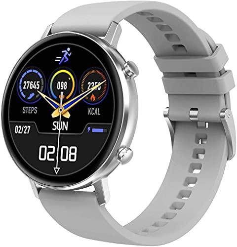Reloj inteligente para mujer de 13 pulgadas con pantalla táctil completa IP67, resistente al agua, con podómetro, monitor de frecuencia cardíaca, monitor de sueño, rastreador de fitness, gris