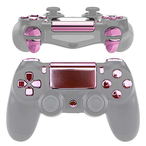 eXtremeRate -D-Pad R1 L1 R2 L2 Triggers Touchpad Action Home Share Options Buttons Chrome Pink Full Set Buttons Kits with Tool for PlayStation 4 PS4 Slim PS4 Pro CUH-ZCT2 Controller