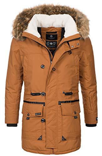 Marikoo Herren Winterjacke Kapuze Kunstfell Winter Jacke Parka warm lang B629 [B629-Ansaya-Braun-Gr.L]
