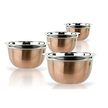 4 Pcs Stainless Steel Mixing Bowls Set - Set of 4 German Mixing Bowls Cookware Set (Copper Finish)