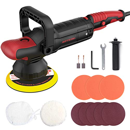 Polisher, Meterk Dual Action Random Orbital Car Polisher, and Buffers 10A 1200W, Soft Start 6-Inch Base, 6 Variable Speeds, Lock Switch, U-Shaped Handle For Car Sanding, Polishing, Waxing, Glaze