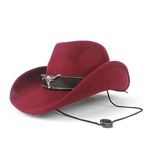 LQ-BNM Panamahut - Western-Cowboyhoed, doorbroken dames-heren-wollen hoed, golvende rode bullhoed, 58 cm