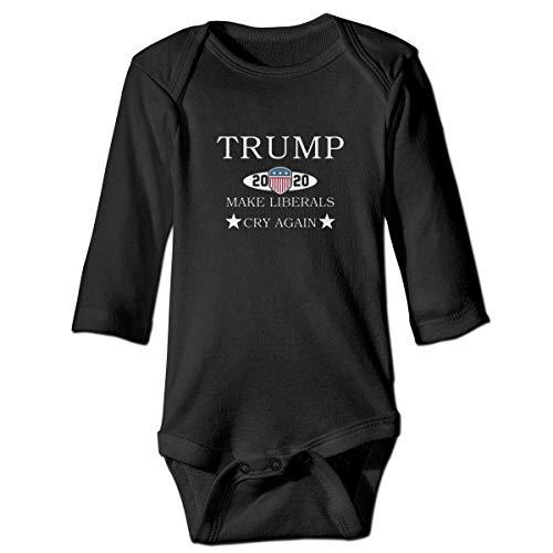 Klotr Mameluco Bebé, Trump 2020 Make Liberals Cry Again Pijama de Algodón Mameluco Niñas Niños Pelele Mono Manga Larga Trajes