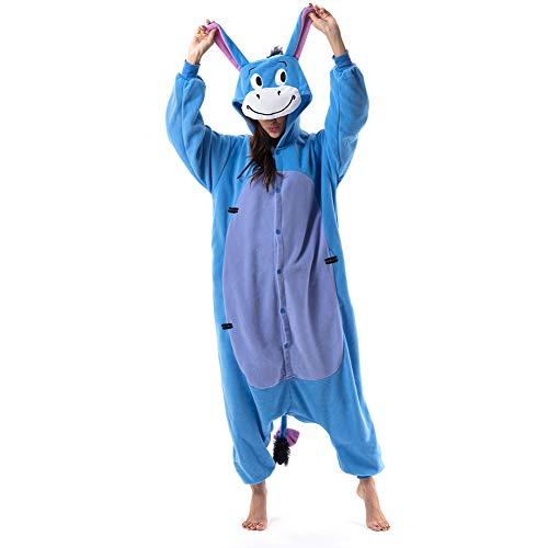 Beauty Shine Unisex Adult Animal Donkey Halloween Costume Plush Pajamas (S, Donkey)