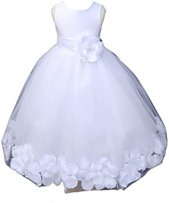White Tulle Floral Rose Petals Formal Flower Girl Dresses Bridal Gown 302S 8 product image