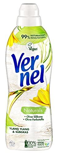 Vernel Naturals Weichspüler, Ylang Ylang & Süßgras, 100% vegan, 99% naturbasierte Inhaltsstoffe, ohne Silikone und Farbstoffe (32 (1 x 32) Waschladungen)