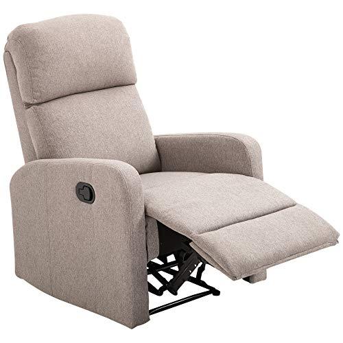 homcom Poltrona Relax Reclinabile Manuale con Poggiapiedi Portata 125kg Tessuto di Lino 66 × 95 × 99cm